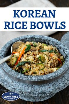 This rice bowl recipe is a play on Korean bibimbap. It combines ground turkey and portabella mushrooms, all mixed together with rice and sesame spinach. Rice Bowls, Rice Dishes, Tasty Dishes, Best Mushroom Recipe, Mushroom Recipes, Spinach Stuffed Mushrooms, Stuffed Peppers, Korean Rice, Korean Food
