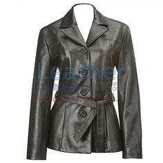 Belted Baby Doll Leather Coat Genuine Leather 0.9 - 1.0 mm, 4-button front with notch collar, Invisible, on-seam hand pockets, Removable tie belt at waist