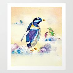 Animal Calligraphy (AR) Penguins Art Print by Rurz - $13.52