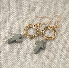 Lucy Earrings: Pyrite crosses on antique by jewelrybybellagrace