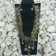 "Vintage SET  Necklace & Earrings  Vintage Necklace 16"" long & Earrings NEW Vintage Accessories"