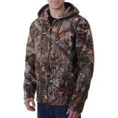 Realtree and Mossy Oak Men's Camo (Green) Heavyweight Sherpa Hoddie Jacket, Size: Medium