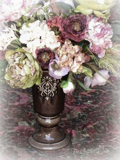 The Gilded Bloom: Faux Rose and Peony Floral Arrangements
