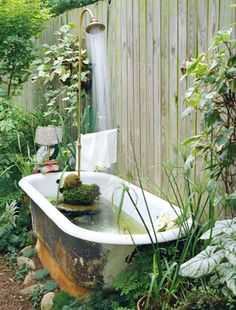 I thought i was the only one who would put a tub in the garden with tiger lilies around it.And the shower head.