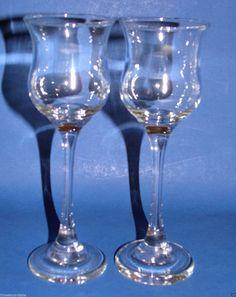 Vintage Long Stem Cordial/Sherry Glasses Set of 2 #Unmarked