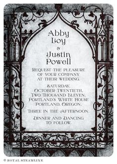 "Storybook Invitation in Black- I like the viney-ness, and the gothic arch. I don't like the ""stepped"" look to the background; I'd rather keep mine looking like an actual vintage book page."