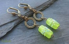 Antique gold and lime green earrings £14.00