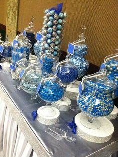 """Blue And Silver Wedding Decorations 10 Blue And Silver Wedding Decorations """"http_status"""": window. Blue Candy Bars, Blue Candy Buffet, Candy Buffet Tables, Dessert Tables, Buffet Ideas, Silver Wedding Decorations, Blue Party Decorations, Blue Centerpieces, Quinceanera Decorations"""