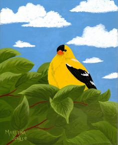 Gold Finch in Leaves 8x10 Acrylic Painting on by AcrylicsAndBeyond, $25.00