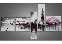 Purple Architecture Cityscape Canvas Oil Painting | 5 Panel | 1028