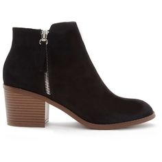 Forever 21 Women's  Zipped Faux Suede Booties ($35) ❤ liked on Polyvore featuring shoes, boots, ankle booties, ankle boots, zip ankle boots, bootie boots, platform bootie, zipper booties and short boots