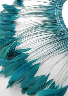 """Turquoise Stripped Coque Feathers 6-8"""" tall 12"""" Strung Length  $28. excellent to use for the masks and the other things"""