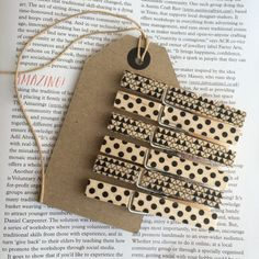 6 full size wooden clothes pegs black/white by KylieDunn on Etsy