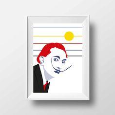 Affiche d'Art Littérature - Poster Illustration Salvador Dali Portrait Style Pop Art Poète Peintre Surréalisme Tirage Art Littéraire