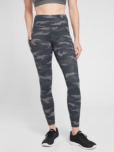 Ultimate Stash Pocket Camo 7/8 Tight | Athleta Black And White Leggings, Petite Size, New Product, Heather Grey, Camo, Tights, Plus Size, Fashion Outfits, My Style