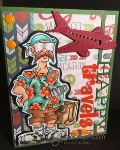 It's Crystal here with a Happy Travels card using Dunderton Abroad ,Doctor digi's House of stamps always has great images to choose from, I copic colored him and… Travel Cards, Funny Cards, Travel Abroad, Stampin Up, Projects To Try, Invitations, Cool Stuff, Happy, Card Ideas