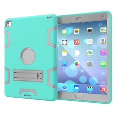 For iPad Air 2 Case laptop Bag Drop Resistance Protective Shell Skin Plastic Back Cover Stand Laptop Cases For iPad 6 Air 2