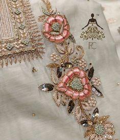 Zardozi Embroidery, Hand Embroidery Flowers, Simple Embroidery, Embroidery Fashion, Hand Embroidery Patterns, Embroidery Dress, Beaded Embroidery, Embroidery Neck Designs, Embroidery Suits Design