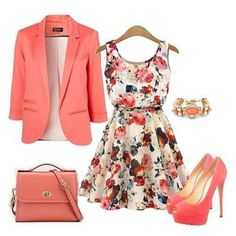 I like this dress and jacket. Definitely would wear it with flats. Coral Pink Floral Print Sleeveless Chiffon Dress