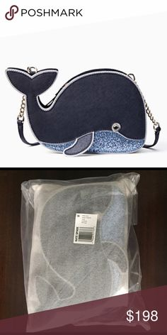 KS off we go glitter whale crossbody vacation bag Brand new in manufacturers packaging.  Adorable glittery whale bag.  Pet free smoke free posher. kate spade Bags Crossbody Bags