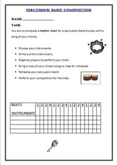 MUSIC: PERCUSSION CHART and COMPOSITION. Create and Perform with Percussion Instruments  $