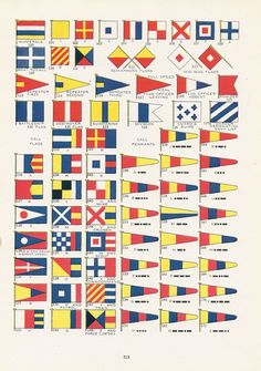 United States Navy Signal Flags, Vintage Illustration, Nautical, World War I Era, 1917. $ 10.00, via Etsy.