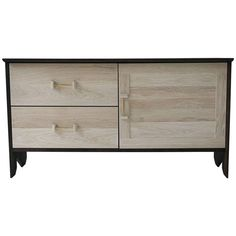 Phoebe Credenza Modern Sideboard in Bleached and Oxidized White Oak Brass Pull | From a unique collection of antique and modern credenzas at https://www.1stdibs.com/furniture/storage-case-pieces/credenzas/