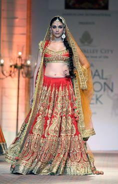 red bridal wedding lengha