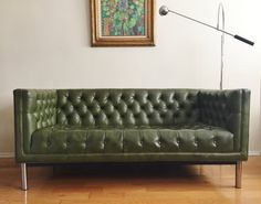 cool couch for mortar lounge? Vintage Mid Century Milo Baughman Style Tufted Chrome Tuxedo Chesterfield Sofa Loveseat