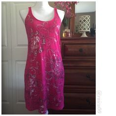 """🎉HP!🎉Express Pink Tank/Tunic with Sequins! EUC, Express """"Dreamweight Cotton"""" Line, Hot Pink Tunic/Tank or Mini Dress with Silver Sequins! Worn maybe once or twice, in perfect condition, all sequins appear intact. NO TAGS- Measurements Laying Flat: Length from armpit down- 25"""", width from armpit to armpit- 15.5"""". *NO TRADES* *Reasonable Offers thru option⤵️ *Sales are Final, Bundle for Discounts! Express Tops Tunics"""