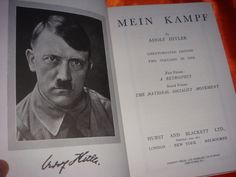 Mein Kampf (English: My Struggle or My Battle) by Adolf Hitler. It combines elements of autobiography with an exposition of Hitler's political ideology. Volume 1 of Mein Kampf was published in 1925 and Volume 2 in 1926