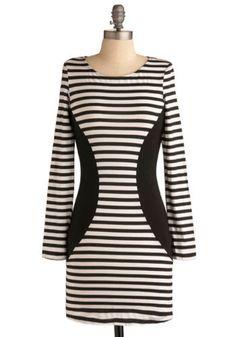 Cute #striped #dress, fun with trompe l'oeil. Wish the neckline were a little more scooped.