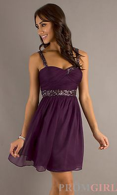 Create a sensational look for spring or summer in this sleeveless purple party dress! Find this dress at PromGirl.com