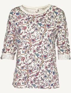 Button Back Garden Floral T-Shirt (Ivory)