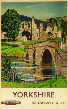 Vintage-Yorkshire-Kirkham-Abbey-Railway-Travel-Poster Shared by Motorcycle Fairings - Motocc Train Posters, Railway Posters, British Travel, Tourism Poster, Train Art, Art Graphique, Advertising Poster, Vintage Travel Posters, Illustrations And Posters