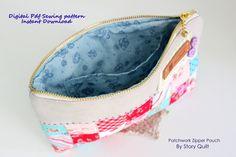 Story Quilt patchwork zipper bag, zipper hand bag, zipper pouch, pattern, sewing pattern, tutorial,patternpile, pattern pile, pile of pattern