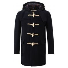 Made in EnglandStylish mid length design.Flapped patch pockets. Three piece hood. Brass stud adjusters in hood. Made from Italian wool mix fabric with check lining. Fully bound interior seams. Engraved wooden toggles with rope hasps. Dry Clean only.