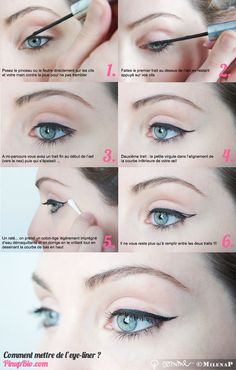 I've tried this a few times and can never get my eyes done evenly! Must be crooked, lol! - Mollie. #tutoriel #eyeliner #pinup