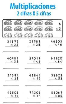 Multiplicación de 2 cifras por 5 cifras