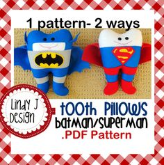 Batman/Superman Tooth Pillow .PDF Pattern by LindyJDesign on Etsy