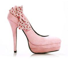 Pink Suede Bowknot Slim Platform High Heel Shoe