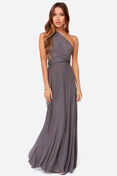 "Awesome Grey Dress - Maxi Dress - Wrap Dress - $68.00. LuLu*s Exclusive! Versatility at its finest, the Tricks of the Trade Grey Maxi Dress knows a trick or two... or four! Two, 76"" long lengths of fabric sprout from an elastic waistband and wrap into a multitude of bodice styles including halter, one-shoulder, cross-front, strapless, and more."