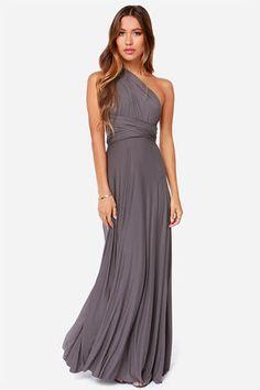 Exclusive Tricks of the Trade Dark Grey Maxi Dress