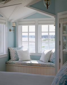 """Wall color is """"Benjamin Moore Breath of Fresh Air Polhemus Savery DaSilva. Beach House Bedroom, Home Bedroom, Bedrooms, Turquoise Cottage, Townhouse Interior, Cottages By The Sea, Luxury Interior Design, Benjamin Moore, Cozy House"""