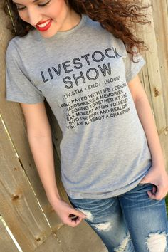 "Our Livestock Show Tee Tee features a heather gray super-soft tee with the phrase ""Livestock Show"" printed on the front in black. Made of Cotton. Model is a size 2 and is wearing a size small. Small - Medium - Large - X-Large - - - Country Outfits, Country Girls, Funny Shirts, Cool T Shirts, Show Cows, Show Cattle, Cow Shirt, Showing Livestock, Beef Cattle"