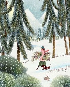 Winter Walk | Jane Newland Illustration Noel, Winter Illustration, Christmas Illustration, Guache, Theme Noel, Christmas Drawing, Noel Christmas, Xmas, Winter Art