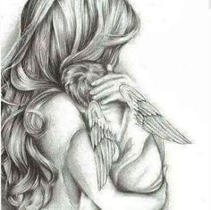 Mom - Angel's Mom -Angel's Mom - Angel's Mom - Mother and baby angel art print ,sympathy gift loss of child, newborn gift Alena Kalchanka Art Mother and baby baby shower newborn gift for mum baby Mama Tattoos, Mother Tattoos, Mother And Baby Tattoo, Angel Baby Tattoos, Angel Drawing, Baby Drawing, Angel Tattoo Drawings, Baby Engel Tattoo, Miscarriage Tattoo