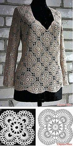 Fabulous Crochet a Little Black Crochet Dress Ideas. Georgeous Crochet a Little Black Crochet Dress Ideas. T-shirt Au Crochet, Beau Crochet, Pull Crochet, Mode Crochet, Crochet Tunic, Crochet Jacket, Crochet Diagram, Crochet Woman, Irish Crochet