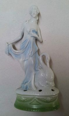 Vintage German Art Deco Nouveau Nymph Swan Bisque Flower Frog | eBay
