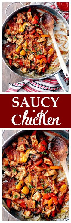Saucy Chicken - Super quick, flavorful pan-fried chicken, combined with tender veggies and Tomato Sauce. Get the recipe on diethood.com